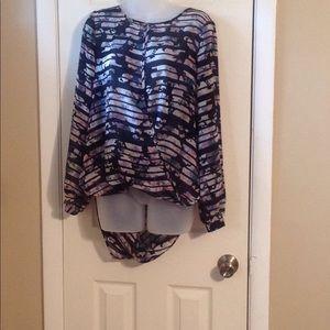 Bar III wrap front long sleeve blouse Sz: L